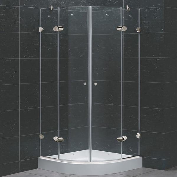 "VIGO 36 x 36 Frameless Neo-Round 1/4"" Clear Shower Enclosure with Base"
