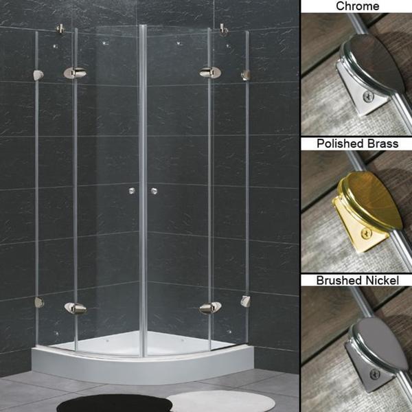 "VIGO 40 x 40 Frameless Neo-Round 1/4"" Clear Shower Enclosure with Base"