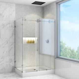 "VIGO 36 x 48 Frameless 3/8"" Clear Right Shower Enclosure with Base"