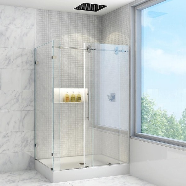 "Small Bathroom With Frameless Shower: Shop VIGO 36 X 48 Frameless 3/8"" Clear Right Shower"