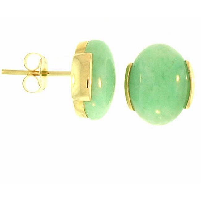 Mason-Kay 14k Yellow Gold Oval-cut Green Jadeite Stud Earrings