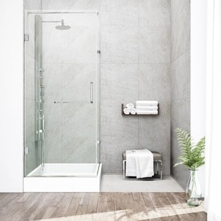 Vigo Frameless Clear Shower Enclosure with Right Base (36 x 48)