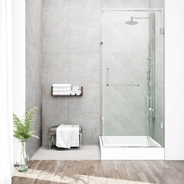 VIGO Frameless Clear Shower Enclosure with Left Base (36 x 48)