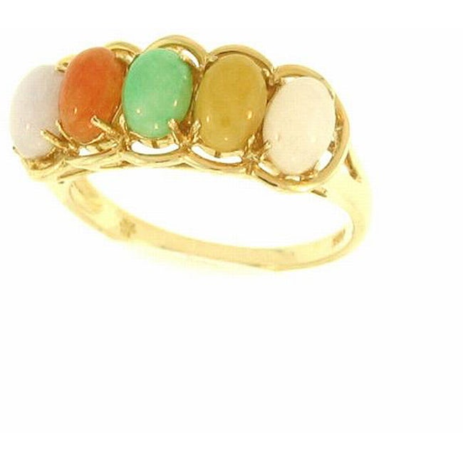 Mason Kay Natural Multi-colored Oval-cut Jade Ring, Size 7