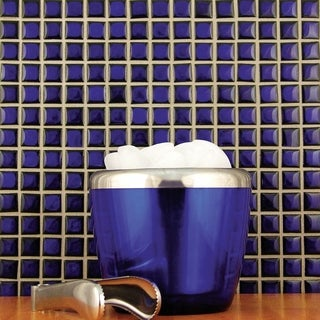 SomerTile 12.25x12.25-in Square 3/4-in Cobalt Porcelain Mosaic Tile (Pack of 10)