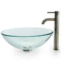 KRAUS Glass Vessel Sink with Ramus Faucet - Thumbnail 1