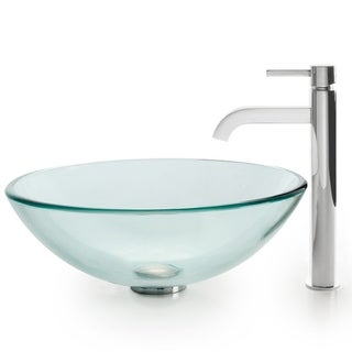 Kraus 4-in-1 Bathroom Set C-GV-101-12mm-1007 Clear Glass Vessel Sink, Ramus Faucet, Pop Up Drain, Mounting Ring
