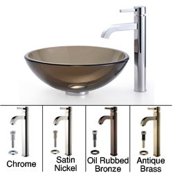 Kraus Bathroom Combo Set Clear Brown Glass Vessel Sink with Faucet