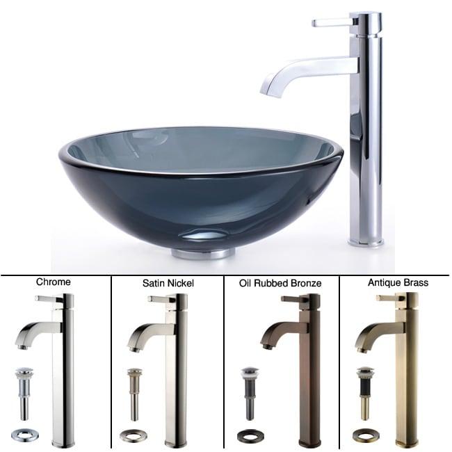 KRAUS Glass Vessel Sink in Black with Single Hole Single-Handle Ramus Faucet in Satin Nickel