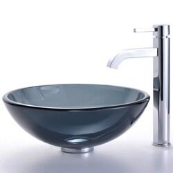 KRAUS Glass Vessel Sink in Black with Single Hole Single-Handle Ramus Faucet in Satin Nickel - Thumbnail 1
