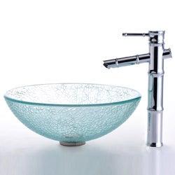 Kraus Broken Glass Vessel Sink/ Bamboo Bathroom Faucet - Thumbnail 1