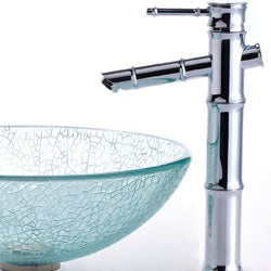 Kraus Broken Glass Vessel Sink/ Bamboo Bathroom Faucet - Thumbnail 2