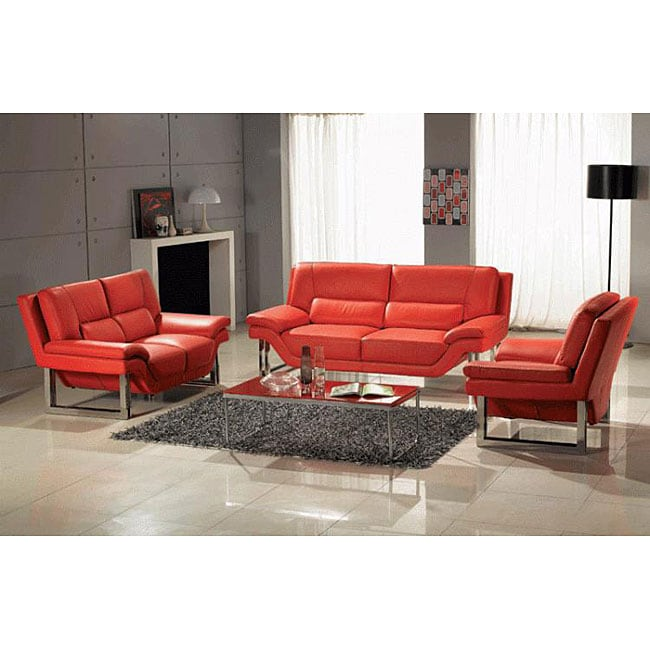 Contemporary 3-piece Red Leather Sofa, Loveseat and Chair Set