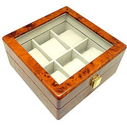 Heiden Burl Wood 6-watch Storage Box