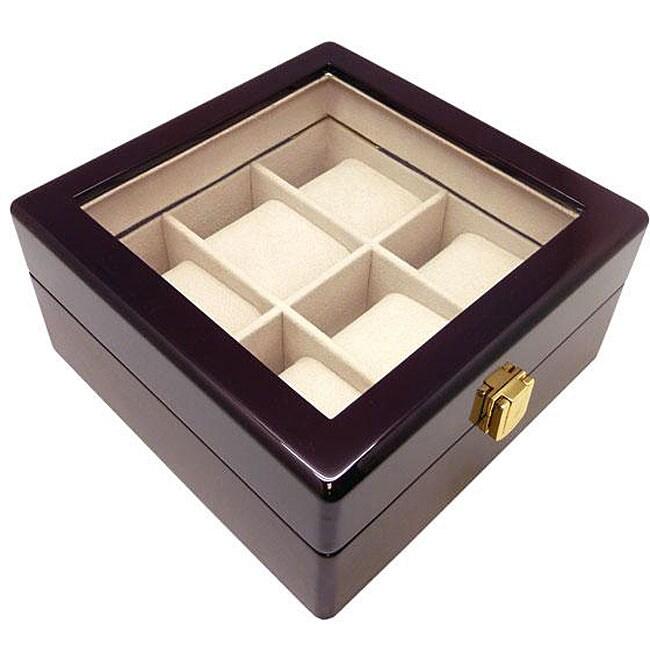 Heiden Cherry Wood 6-watch Storage Box