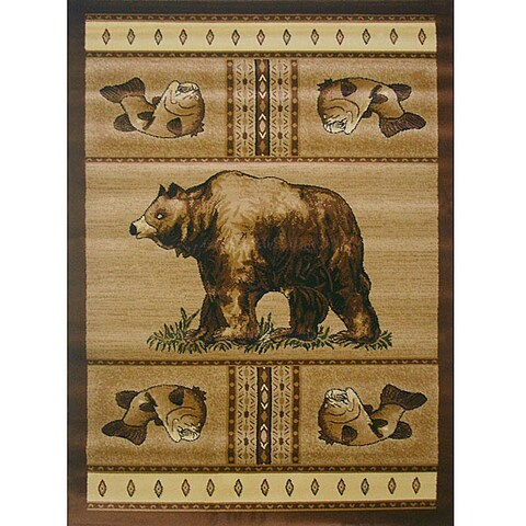 Lodge Bear Natural Area Rug - 5' x 8'