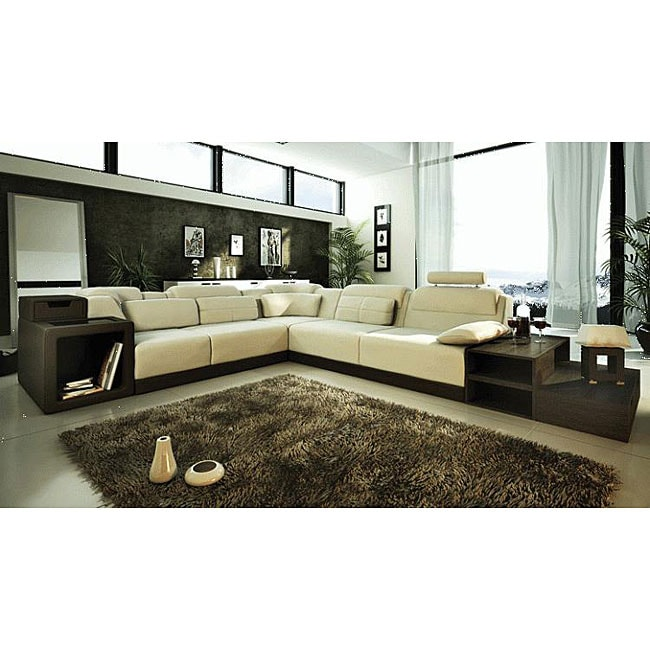 Marthena 3-piece Ivory Leather Sectional Sofa Set