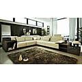 Marthena 3-piece Ivory Leather Sectional Sofa Set