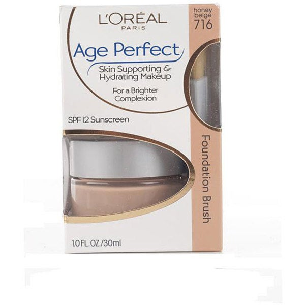 L'Oreal Age Perfect Skin Support 716 Honey Beige Hydrating Makeup (Pack of 4)