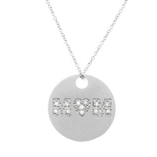 Sterling Silver Diamond 'Mom' Heart Necklace (H-I, I2-I3)