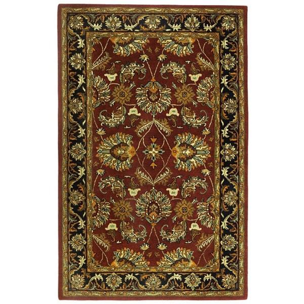 Hand-tufted Agra Burgundy New Zealand Wool Rug (4' x 6')
