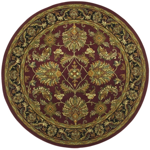 Hand Tufted Agra Red Gold Wool Rug 8 Round