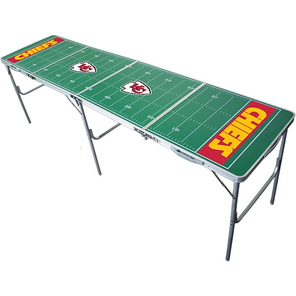 Green Aluminum Tailgate Table with NFL Kansas City Chiefs Logo