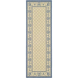 Safavieh Royal Natural/ Blue Indoor/ Outdoor Runner (2'4 x 6'7)