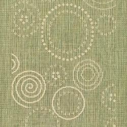 Safavieh Ocean Swirls Olive Green/ Natural Indoor/ Outdoor Runner (2'4 x 6'7) - Thumbnail 2