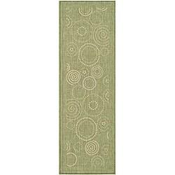 Safavieh Ocean Swirls Olive Green/ Natural Indoor/ Outdoor Runner (2'4 x 6'7)