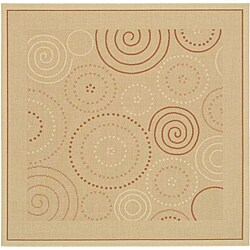 Safavieh Ocean Swirls Natural/ Terracotta Indoor/ Outdoor Rug (6'7 Square)