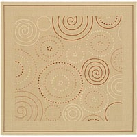 "Safavieh Ocean Swirls Natural/ Terracotta Indoor/ Outdoor Rug - 6'7"" x 6'7"" square"