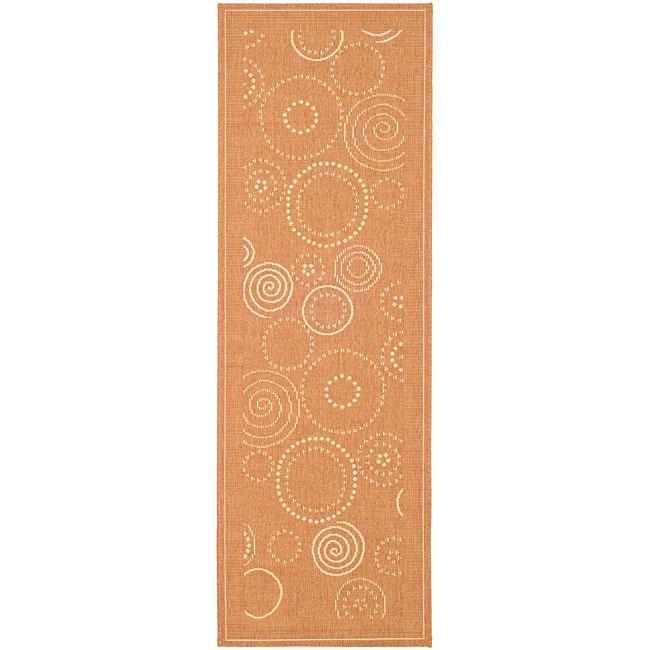 Safavieh Ocean Swirls Terracotta/ Natural Indoor/ Outdoor Runner (2'4 x 6'7)
