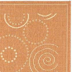 Safavieh Ocean Swirls Terracotta/ Natural Indoor/ Outdoor Runner (2'4 x 6'7) - Thumbnail 1