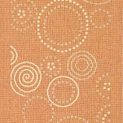 Safavieh Ocean Swirls Terracotta/ Natural Indoor/ Outdoor Runner (2'4 x 6'7) - Thumbnail 2