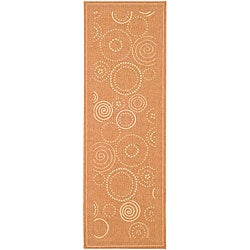 "Safavieh Ocean Swirls Terracotta/ Natural Indoor/ Outdoor Runner - 2'4"" x 6'7"" - Thumbnail 0"