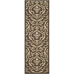 Safavieh Bimini Damask Chocolate/ Natural Indoor/ Outdoor Runner (2'4 x 6'7)