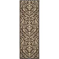 Safavieh Bimini Damask Chocolate/ Natural Indoor/ Outdoor Runner (2'4 x 6'7) - 2'4 x 6'7