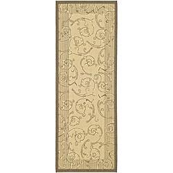 Safavieh Oasis Scrollwork Natural/ Brown Indoor/ Outdoor Runner (2'4 x 6'7)