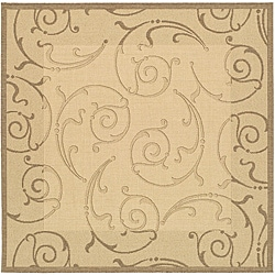 Safavieh Oasis Scrollwork Natural/ Brown Indoor/ Outdoor Rug (6'7 Square)