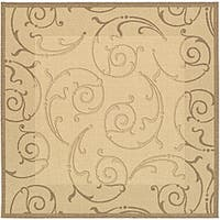 Safavieh Oasis Scrollwork Natural/ Brown Indoor/ Outdoor Rug (6'7 Square) - 6'7 Square