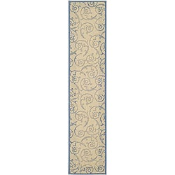 Safavieh Oasis Scrollwork Natural/ Blue Indoor/ Outdoor Runner (2'4 x 9'11)