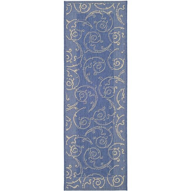 Safavieh Indoor/ Outdoor Oasis Blue/ Natural Runner (2'4 x 6'7)