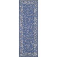 Safavieh Oasis Scrollwork Blue/ Natural Indoor/ Outdoor Runner - 2'4 x 6'7