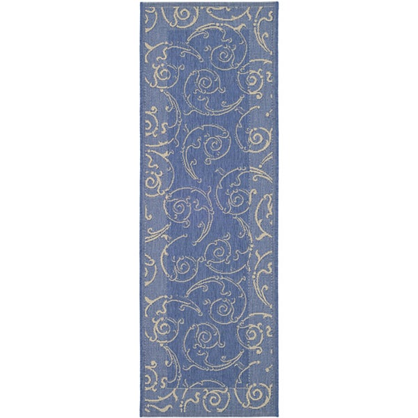Safavieh Oasis Scrollwork Blue/ Natural Indoor/ Outdoor Runner - 2'4 x 6'7
