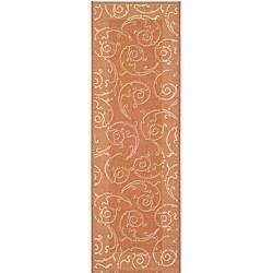 Safavieh Oasis Scrollwork Terracotta/ Natural Indoor/ Outdoor Runner (2'4 x 9'11)