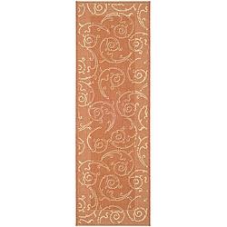 Safavieh Oasis Scrollwork Terracotta/ Natural Indoor/ Outdoor Runner (2'4 x 6'7)