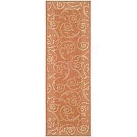 Safavieh Oasis Scrollwork Terracotta/ Natural Indoor/ Outdoor Runner - 2'4 x 6'7