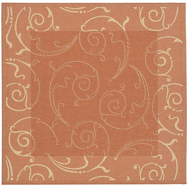 Safavieh Oasis Scrollwork Terracotta/ Natural Indoor/ Outdoor Rug (6'7 Square)