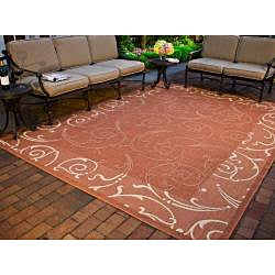 Safavieh Oasis Scrollwork Terracotta/ Natural Indoor/ Outdoor Rug (6'7 Square) - Thumbnail 1